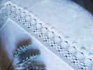 Скатерть круглая большая Cадовые цветы лен белый  д. 200 см