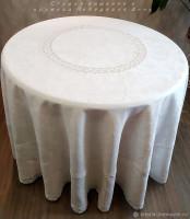 Скатерть круглая большая Ренессанс лен белый  д. 260, 300  см.
