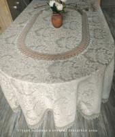 Овальная скатерть  200/160 серая полулен (любые размеры под заказ 2 дня)