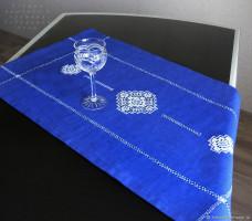 Дорожка лен синяя 3 кубана 93/43
