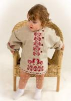 Льняная детская косоворотка  с вышивкой Кони р.30-32