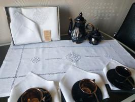 Чайный льняной комплект 2(дорожка+6 салфеток) Ивановская строчка