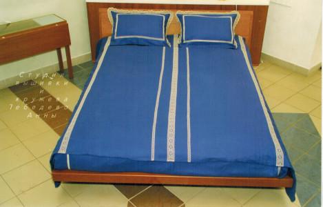Постельное бельё  Кружевное синее-2, любые размеры!