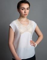 Блуза  с филейной вышивкой. Хлопок- вискоза. р. 44-46