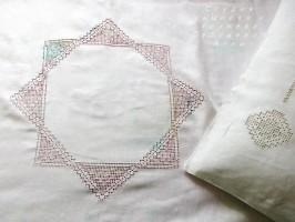 Льняное постельное белье с мережками и  вышивкой Звезда