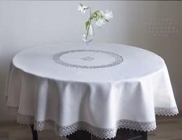 Скатерть на круглый стол из серого льна д.160 см.