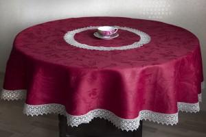 Скатерть круглая бордо, рис. Ренессанс д.165 см.
