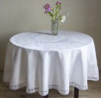Скатерть круглая большая    (Ренессанс белая  д. 200 см.)