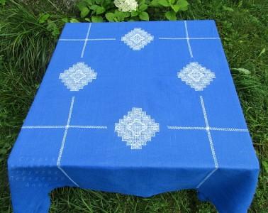 Скатерть квадратная 147/147 синий лен  (+салфетки по желанию)