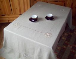 Скатерть на большой прямоугольный стол 350/160 лен натуральный