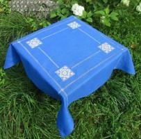 Скатерть квадратная 90/90 синий лен  (+салфетки по желанию)